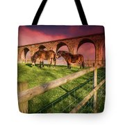 Cefn Viaduct Horses At Sunset Tote Bag