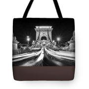 Chain Bridge At Night In Budapest Tote Bag