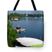 Chambly Basin And The Church Of St Joseph In Quebec Tote Bag