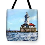 Chicago Il - Chicago Harbor Lighthouse Tote Bag