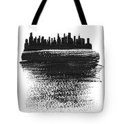 Chicago Skyline Brush Stroke Black Tote Bag