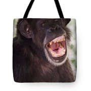 Chimp With Mouth Open Tote Bag