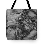 Chinese Dragons In Black And White Tote Bag