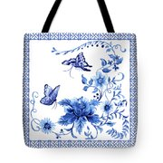 Chinoiserie Blue And White Pagoda With Stylized Flowers Butterflies And Chinese Chippendale Border Tote Bag