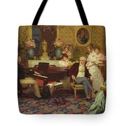Chopin Playing The Piano In Prince Radziwills Salon Tote Bag