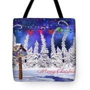 Christmas Card With Bird House Tote Bag