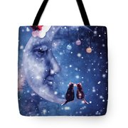 Christmas Card With Smiling Moon And Cats Tote Bag