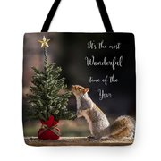 Christmas Squirrel Most Wonderful Time Of The Year Square Tote Bag