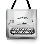 Christmas Wishes Written On An Old Typewriter. Tote Bag