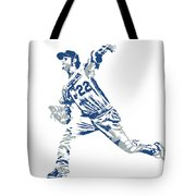 Clayton Kershaw Los Angeles Dodgers Pixel Art 30 Tote Bag