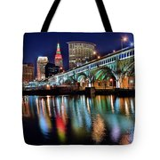 Cleveland Ohio Skyline Reflects Colorfully Tote Bag