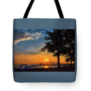 Cleveland Sign Sunrise Tote Bag