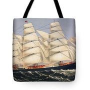 Clipper Ship Three Brothers, The Largest Sailing Ship In The World Published By Currier And Ives Tote Bag