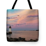 Coast Guard Rescue Over Winter Island Tote Bag by Jeff Folger