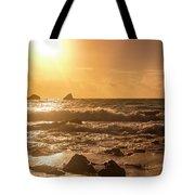 Coastal Sunrise Silhouette Tote Bag