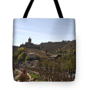 Cochem Main Street And Castle In Springtime In Germany Tote Bag