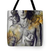 Colony Collapse Disorder - Gold - Nude Warrior Woman With Autumn Leaves Tote Bag