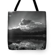 Colorado Mountain Lake In Black And White Tote Bag