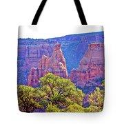 Colorado National Monument Colorado Blue Sky Red Rocks Clouds Trees 2 10212018 2871.jpg Tote Bag