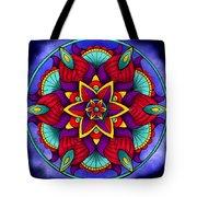 Colorful Flower Mandala Tote Bag by Becky Herrera