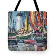 Colorful Harbor Tote Bag