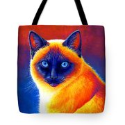 Colorful Siamese Cat Tote Bag
