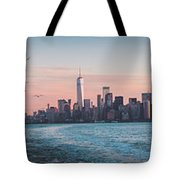 Colorful Sunrise Over The New York Skyline And The Statue Of Lib Tote Bag