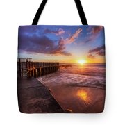 Colorful Sunset At Toes Beach Tote Bag by Andy Konieczny
