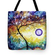 Colorful Whimsical Original Landscape Tree Painting Purple Reign By Megan Duncanson Tote Bag
