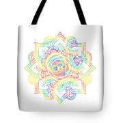 Colourful Rainbow Mandala Lavender Tote Bag