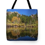 Cool Calm Rocky Mountains Autumn Reflections Tote Bag
