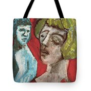 Couple In Front Of Red Wall Tote Bag