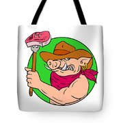 Cowboy Hog Holding Barbecue Steak Drawing Color Tote Bag