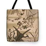 Cranes And Birds At Pond 1880 Tote Bag