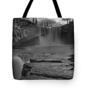 Crescent Falls Light Rays Through The Mist Black And White Tote Bag