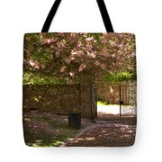 Crichton Church Entrance Gate And Tree In Pink Bloom Tote Bag