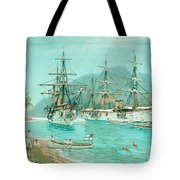 Cruiser And Gunboat Hoist On Ponape The German Flag Tote Bag