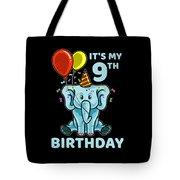 Cute 9th Ninth Birthday Elephant Tote Bag