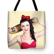 Cute Pinup Skater Girl In Punk Glam Fashion Tote Bag
