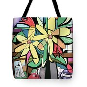 Daisy's And Tulips Tote Bag by Anthony Falbo