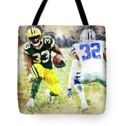 Dallas Cowboys Against Green Bay Packers. Tote Bag