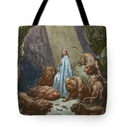 Daniel In The Den Of Lions  Engraving By Gustave Dore Tote Bag