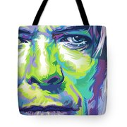 David Bowie Portrait In Aqua And Green Tote Bag