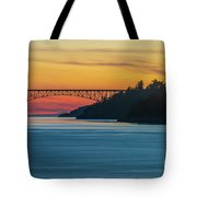 Deception Pass Bridge Sunset Light Tote Bag