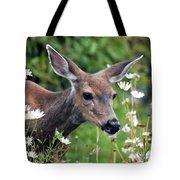 Deer In Daisies Tote Bag
