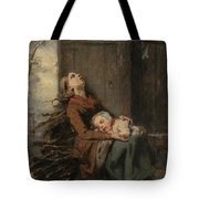 Destitute Dead Mother Holding Her Sleeping Child In Winter, 1850 Tote Bag