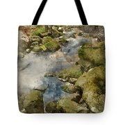Digital Watercolor Painting Of Autumn Fall Forest Landscape Stre Tote Bag