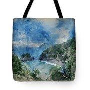Digital Watercolor Painting Of Beautiful Dramatic Sunrise Landsa Tote Bag