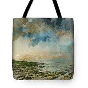 Digital Watercolor Painting Of Beautiful Landscape Panorama Suns Tote Bag