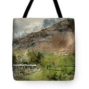 Digital Watercolor Painting Of Beautiful Old Village Landscape N Tote Bag